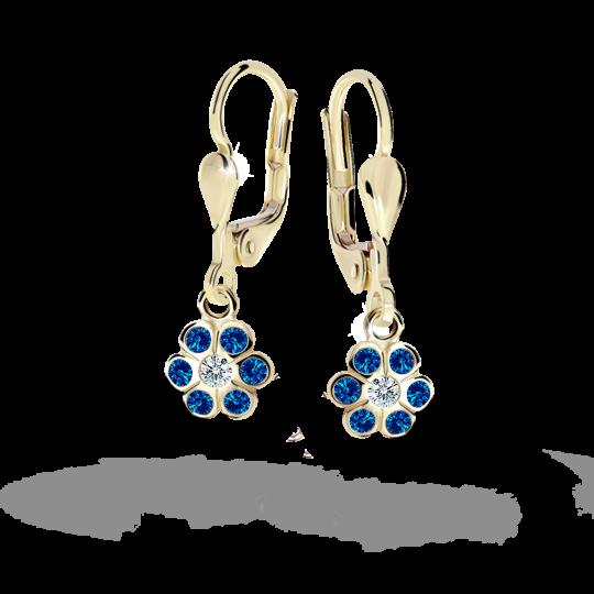Children's earrings Danfil Flowers C1737 Yellow gold, Dark Blue, Leverbacks