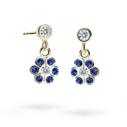 Children's earrings Danfil Flowers C1737 Yellow gold, Dark Blue, Screw backs