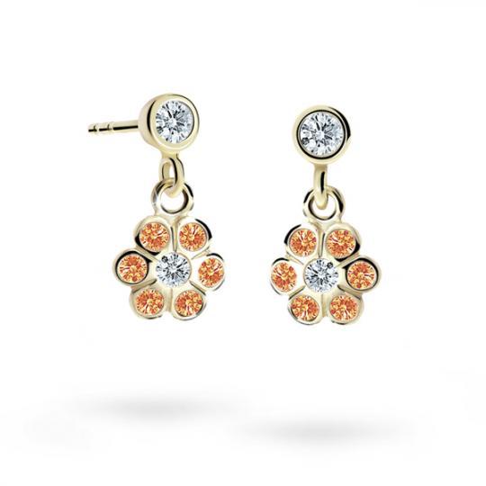 Children's earrings Danfil Flowers C1737 Yellow gold, Orange, Butterfly backs