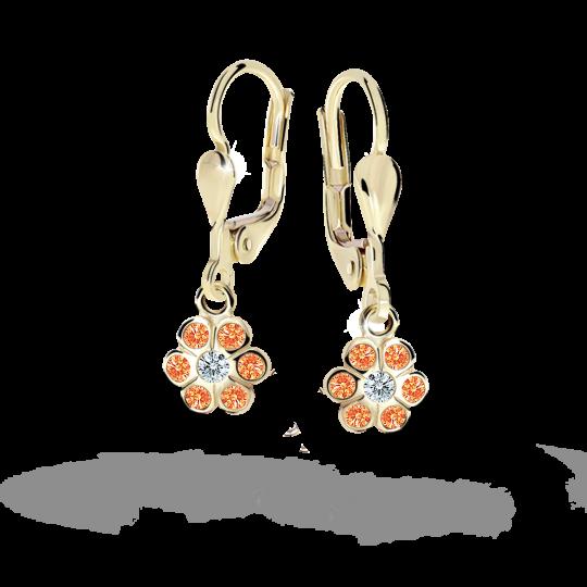Children's earrings Danfil Flowers C1737 Yellow gold, Orange, Leverbacks