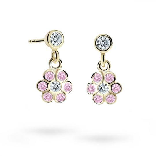 Children's earrings Danfil Flowers C1737 Yellow gold, Pink, Butterfly backs