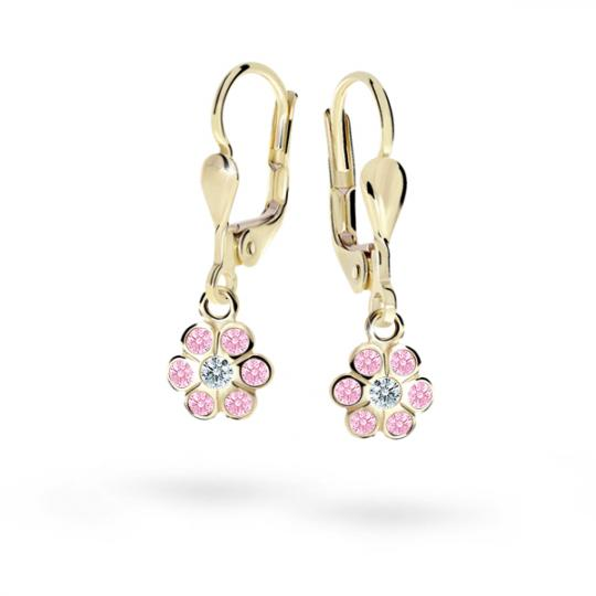 Children's earrings Danfil Flowers C1737 Yellow gold, Pink, Leverbacks