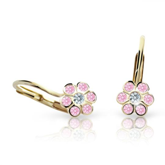 Children's earrings Danfil Flowers C1737 Yellow gold, Pink, Leverbacks