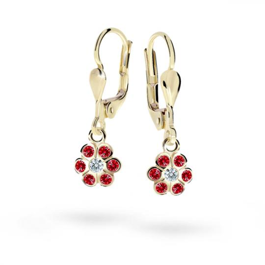 Children's earrings Danfil Flowers C1737 Yellow gold, Ruby Dark, Leverbacks