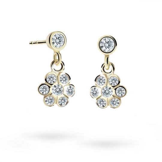 Children's earrings Danfil Flowers C1737 Yellow gold, White, Butterfly backs