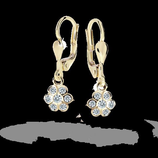 Children's earrings Danfil Flowers C1737 Yellow gold, White, Leverbacks