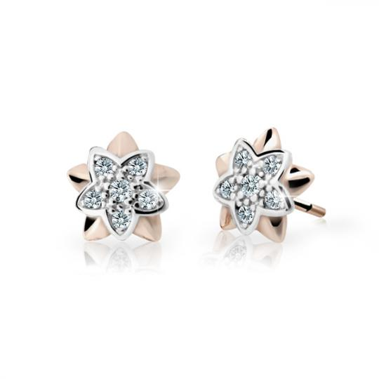 Children's earrings Danfil Flowers C2210 Rose gold, White, Butterfly backs
