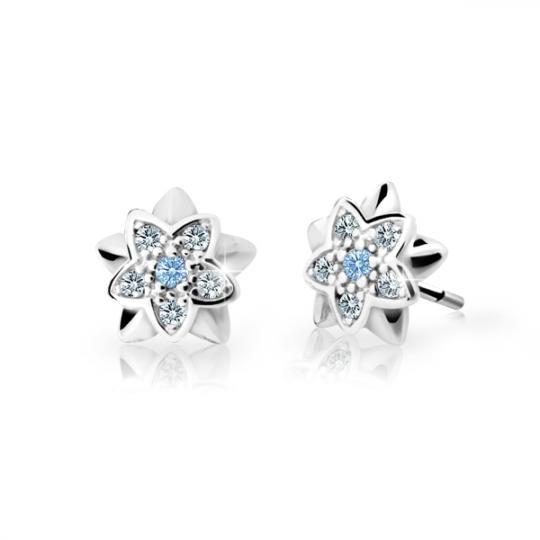 Children's earrings Danfil Flowers C2210 White gold, Arctic Blue, Butterfly backs