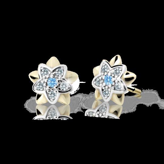 Children's earrings Danfil Flowers C2210 Yellow gold, Arctic Blue, Butterfly backs