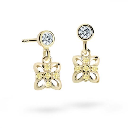Children's earrings Danfil Flowers C2215 Yellow gold, Yellow, Screw backs