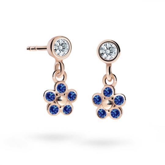 Children's earrings Danfil Flowers C2744 Rose gold, Dark Blue, Butterfly backs