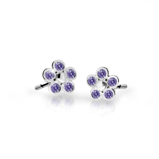 Children's earrings Danfil Flowers C2744 White gold, Amethyst, Screw backs