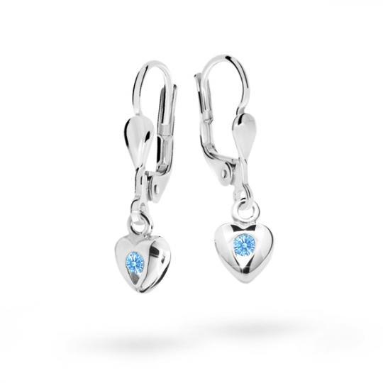 Children's earrings Danfil Hearts C1556 White gold, Arctic Blue, Leverbacks
