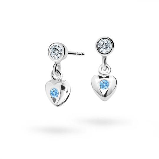 Children's earrings Danfil Hearts C1556 White gold, Arctic Blue, Screw backs