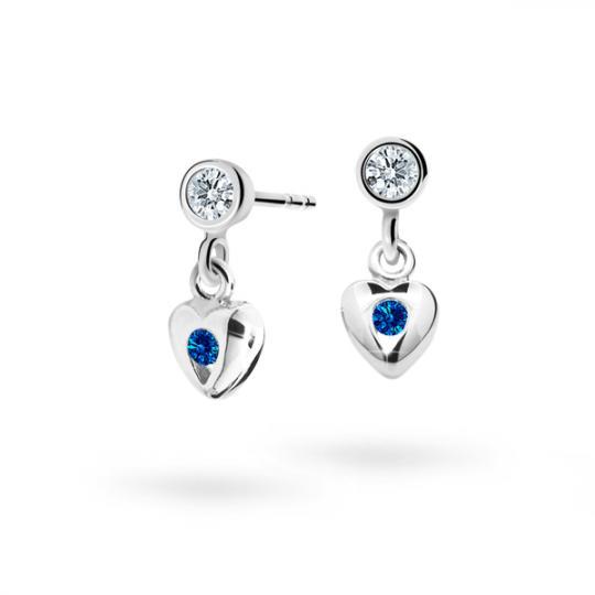 Children's earrings Danfil Hearts C1556 White gold, Dark Blue, Butterfly backs