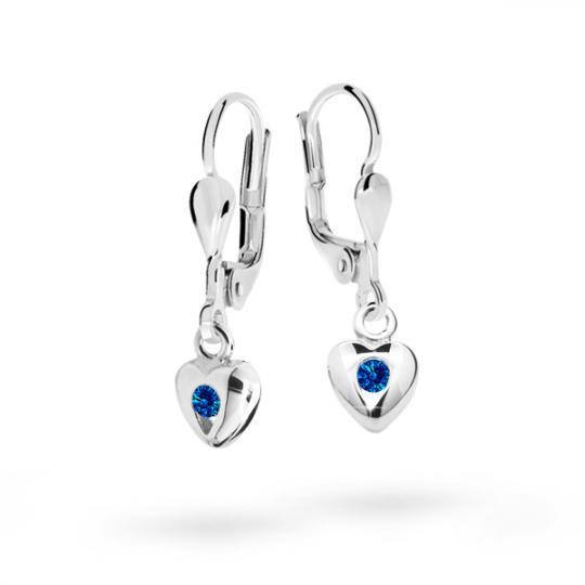 Children's earrings Danfil Hearts C1556 White gold, Dark Blue, Leverbacks