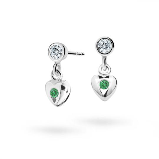 Children's earrings Danfil Hearts C1556 White gold, Emerald Green, Screw backs