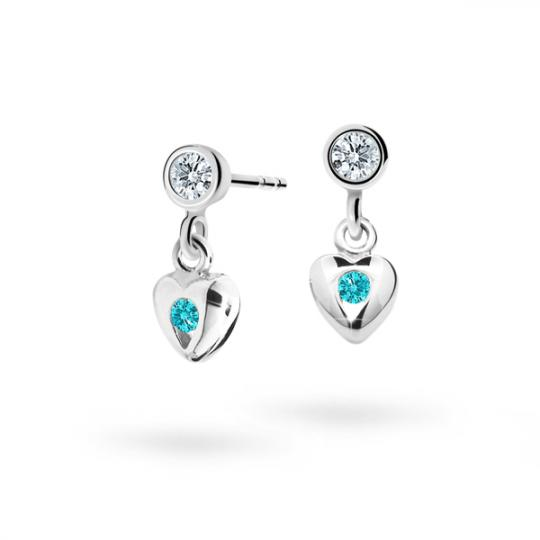 Children's earrings Danfil Hearts C1556 White gold, Mint Green, Butterfly backs