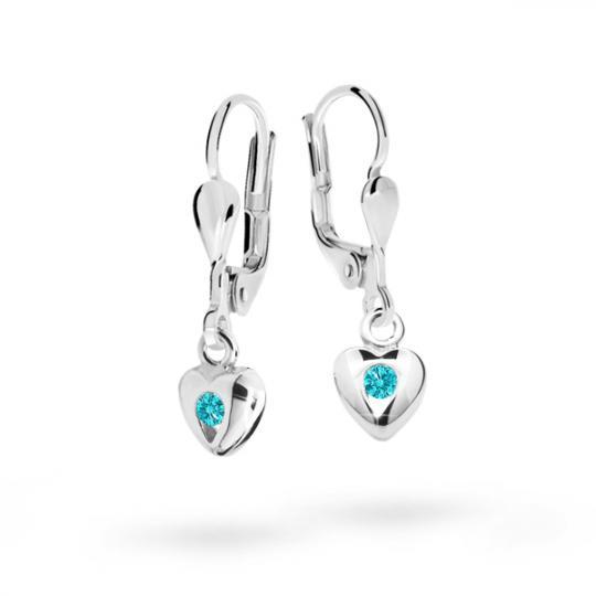 Children's earrings Danfil Hearts C1556 White gold, Mint Green, Leverbacks