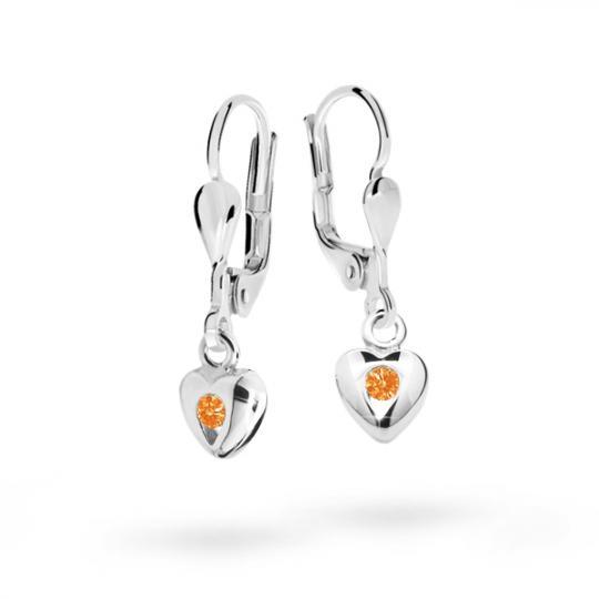 Children's earrings Danfil Hearts C1556 White gold, Orange, Leverbacks