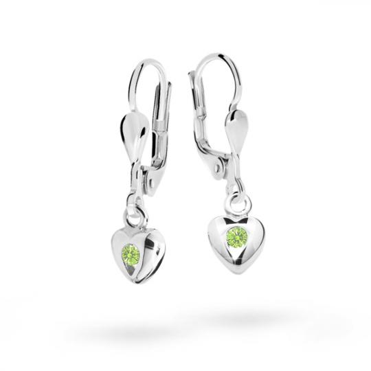 Children's earrings Danfil Hearts C1556 White gold, Peridot Green, Leverbacks
