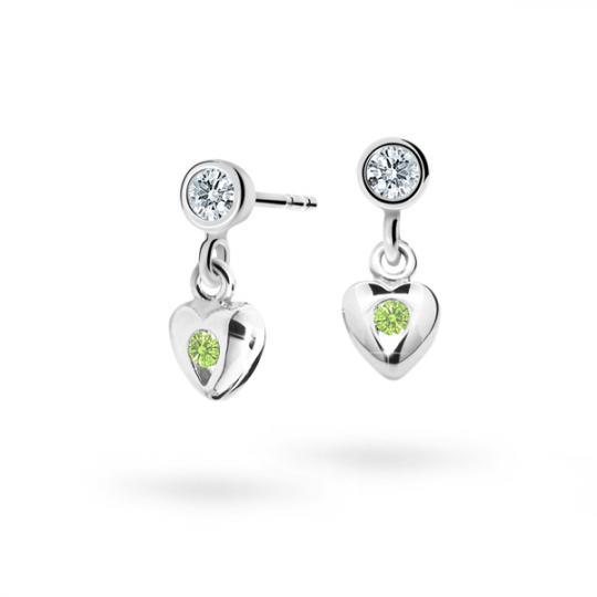 Children's earrings Danfil Hearts C1556 White gold, Peridot Green, Screw backs