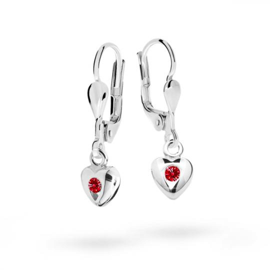 Children's earrings Danfil Hearts C1556 White gold, Ruby Dark, Leverbacks