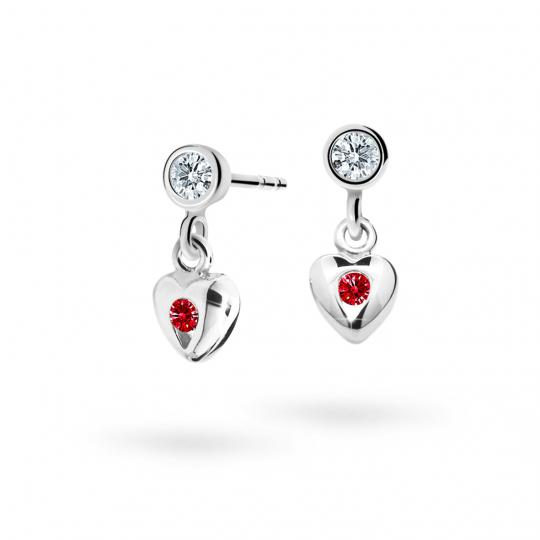 Children's earrings Danfil Hearts C1556 White gold, Ruby Dark, Screw backs