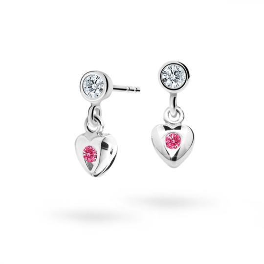 Children's earrings Danfil Hearts C1556 White gold, Tcf Red, Butterfly backs