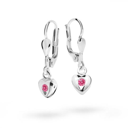 Children's earrings Danfil Hearts C1556 White gold, Tcf Red, Leverbacks