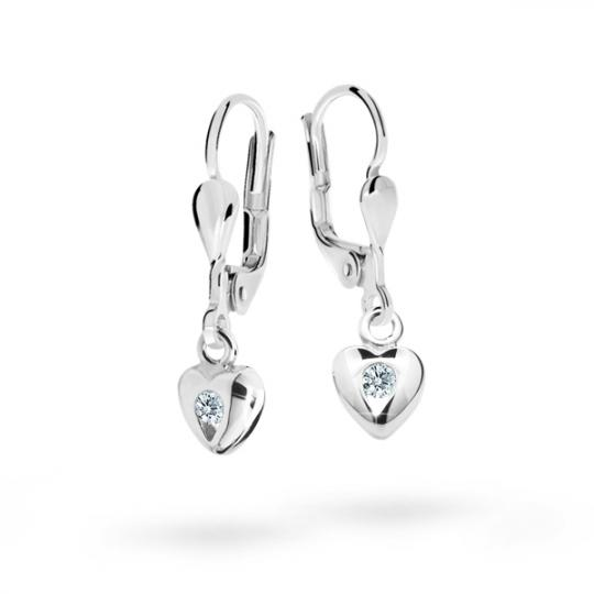 Children's earrings Danfil Hearts C1556 White gold, White, Leverbacks