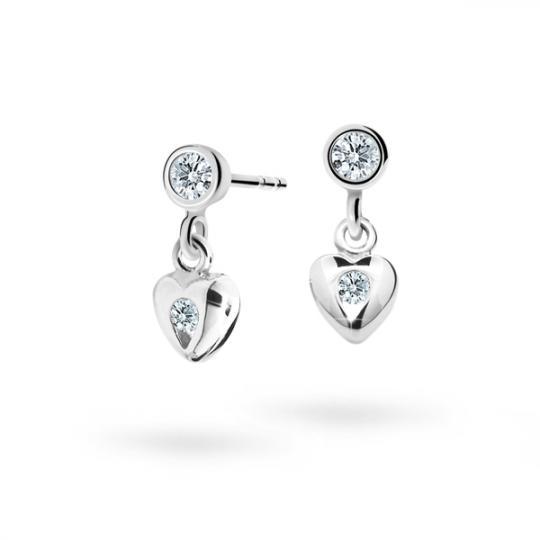 Children's earrings Danfil Hearts C1556 White gold, White, Screw backs