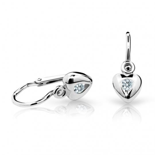 Childrens Earrings Danfil Hearts C1556 White Gold with Rhinestone White, Closure Brizura