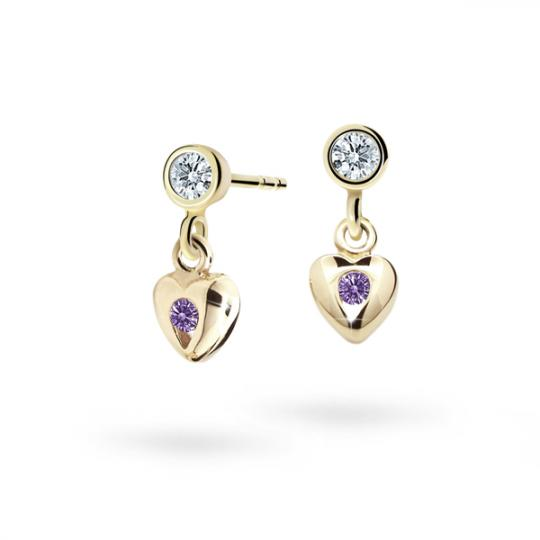 Children's earrings Danfil Hearts C1556 Yellow gold, Amethyst, Butterfly backs