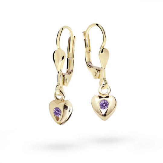 Children's earrings Danfil Hearts C1556 Yellow gold, Amethyst, Leverbacks