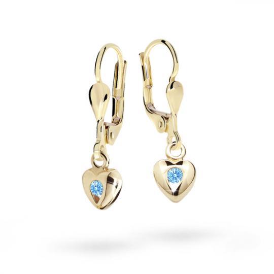 Children's earrings Danfil Hearts C1556 Yellow gold, Arctic Blue, Leverbacks