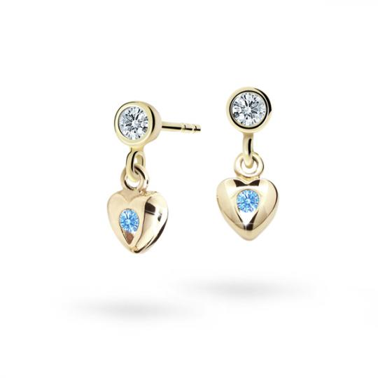 Children's earrings Danfil Hearts C1556 Yellow gold, Arctic Blue, Screw backs