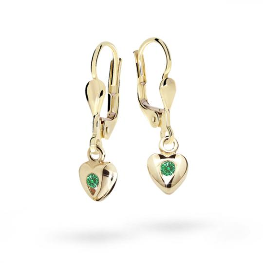 Children's earrings Danfil Hearts C1556 Yellow gold, Emerald Green, Leverbacks