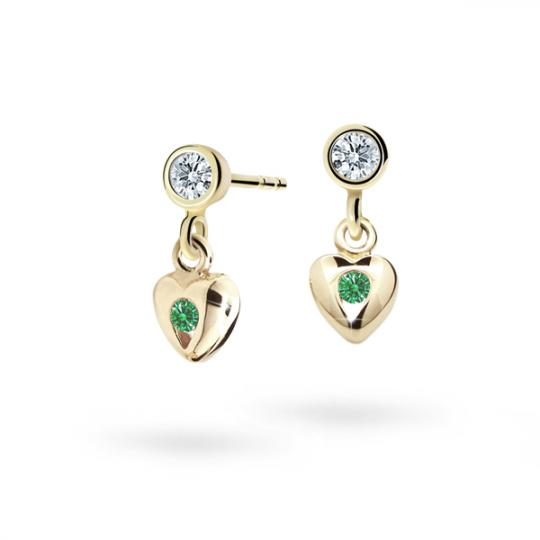 Children's earrings Danfil Hearts C1556 Yellow gold, Emerald Green, Screw backs