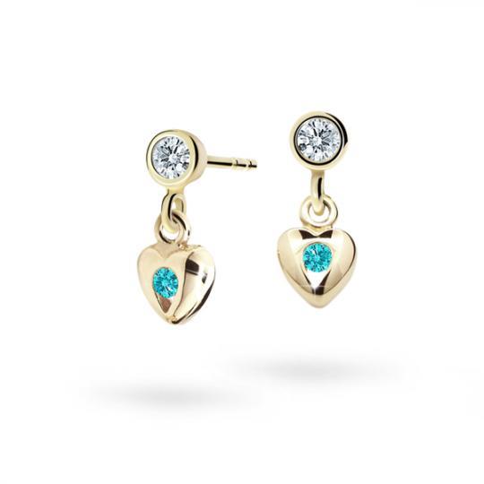 Children's earrings Danfil Hearts C1556 Yellow gold, Mint Green, Butterfly backs