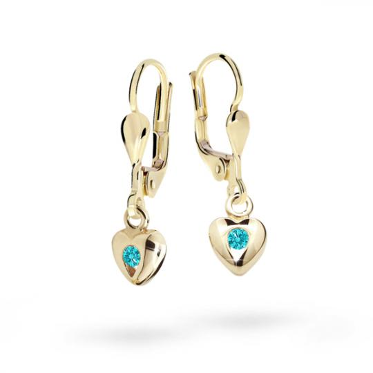 Children's earrings Danfil Hearts C1556 Yellow gold, Mint Green, Leverbacks