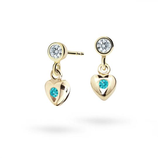 Children's earrings Danfil Hearts C1556 Yellow gold, Mint Green, Screw backs