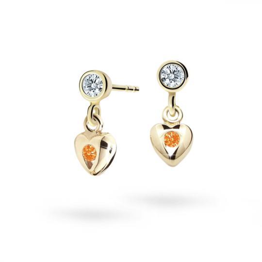 Children's earrings Danfil Hearts C1556 Yellow gold, Orange, Butterfly backs