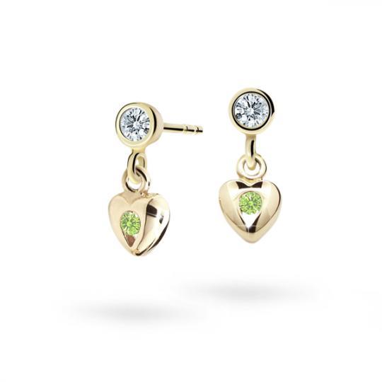 Children's earrings Danfil Hearts C1556 Yellow gold, Peridot Green, Butterfly backs