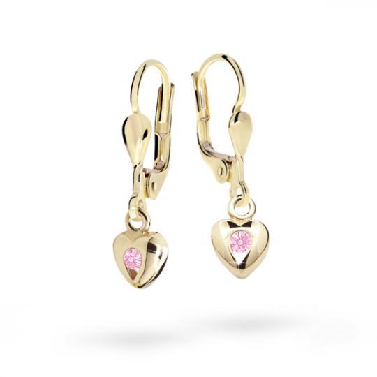 Children's earrings Danfil Hearts C1556 Yellow gold, Pink, Leverbacks