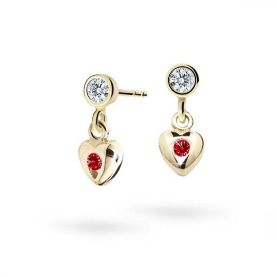 Children's earrings Danfil Hearts C1556 Yellow gold, Ruby Dark, Butterfly backs