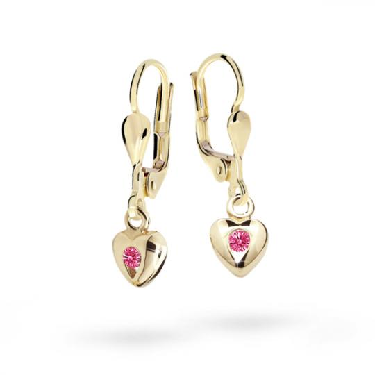 Children's earrings Danfil Hearts C1556 Yellow gold, Tcf Red, Leverbacks