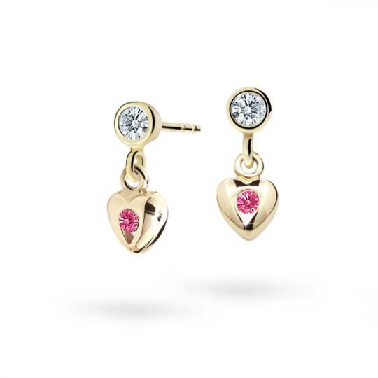 Children's earrings Danfil Hearts C1556 Yellow gold, Tcf Red, Screw backs