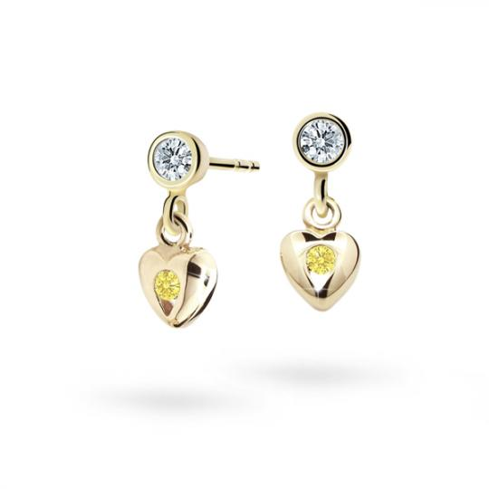 Children's earrings Danfil Hearts C1556 Yellow gold, Yellow, Butterfly backs