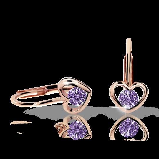 Children's earrings Danfil Hearts C1943 Rose gold, Amethyst, Leverbacks